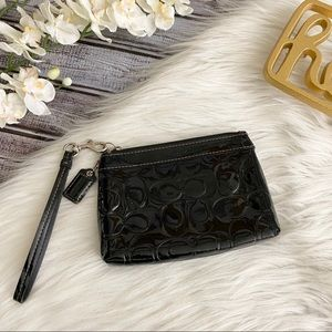 Coach Wristlet SMALL Black Patent Leather